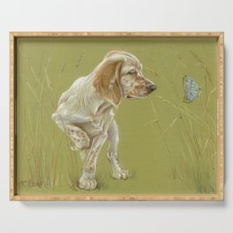 The First Spring Butterfly English Setter Puppy Pastel Drawing on green background Serving Tray