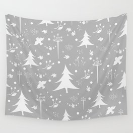 Seamless Winter/Merry Christmas Pattern with spruce trees, fir, berries, birds, rowan Wall Tapestry