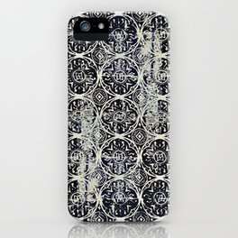 Navy Block Print Pattern iPhone Case