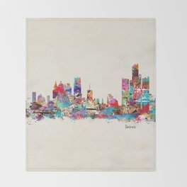 detroit michigan skyline Throw Blanket