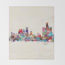 detroit michigan skyline Throw Blanket