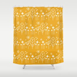 Scandi Floral in Ochre yellow repeat pattern Shower Curtain