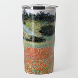 Poppy Field in a Hollow near Giverny by Claude Monet Travel Mug