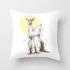 Doe Tree Throw Pillow