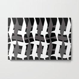 Geometry pattern black - grey - white I Metal Print