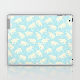 Polar bear pattern on wintry ice aqua background Laptop & iPad Skin