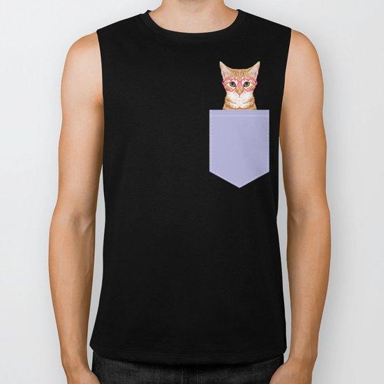 Mackenzie - Orange Tabby Cute Hipster Glasses Kitten Lavender Pastel Girly Retro Cat Art cell phone Biker Tank