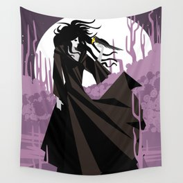 dark gothic black dress woman holding a crow bird in the night Wall Tapestry