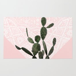 Cactus on Pink and Persian Mosaic Wall Rug