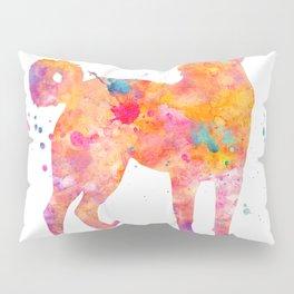 Akbash Dog Watercolor Orange Pink Abstract Pillow Sham