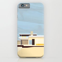 Mid Century Modern Kaufman House: Palm Springs: Architecture by Richard Neutra: Blue Yellow Brown iPhone Case