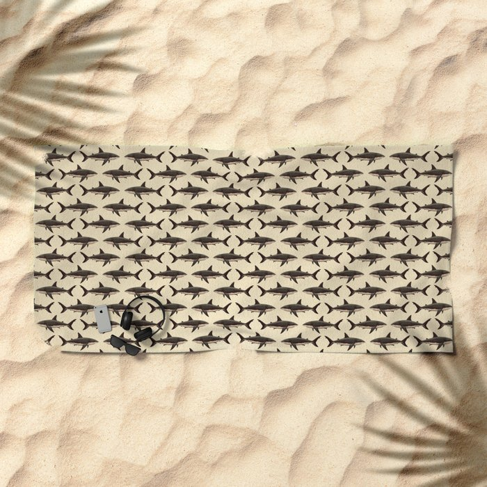 Pattern: Great White Shark ~ Vintage ~ (Copyright 2015) Beach Towel
