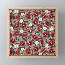 Maroon Hibiscus and Plumeria Framed Mini Art Print