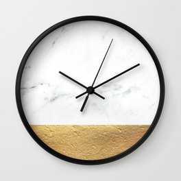 Color Blocked Gold & Marble Wall Clock