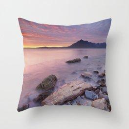 II - Spectacular sunset at the Elgol beach, Isle of Skye, Scotland Throw Pillow