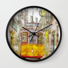 Lisbon Portugal Travel Painting Art Wall Clock