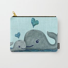 Whale Mom and Baby with Hearts in Gray and Turquoise Carry-All Pouch