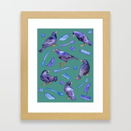 Bower Birds on Green Framed Art Print
