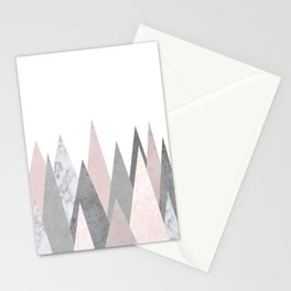 BLUSH MARBLE GRAY GEOMETRIC MOUNTAINS Stationery Cards