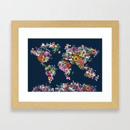 world map floral Framed Art Print