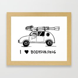 I HEART BODYSURFING Framed Art Print