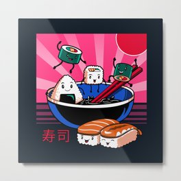Sushi Retro Fun Metal Print