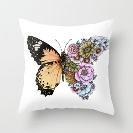 Butterfly in Bloom II Throw Pillow
