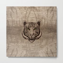 Tiger  pyrograph on wood Metal Print
