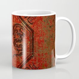 Distressed Dueling Dragons in Octagon Frame With Chinese Dragon Characters Coffee Mug