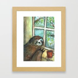 sloth rain Framed Art Print