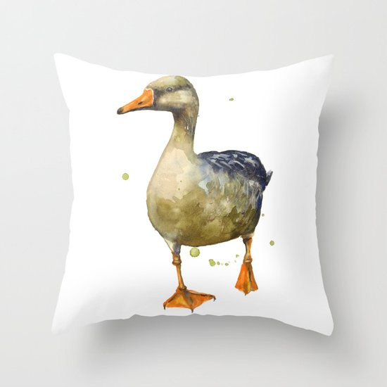 Goose, golden goose, goosey goosey gander, fowl art, farmyard animals, kitchen wall art Throw Pillow