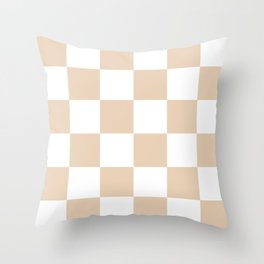 Large Checkered - White and Pastel Brown Throw Pillow