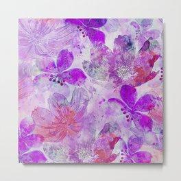 Pink Purple Watercolor Painted Flower Mix Metal Print