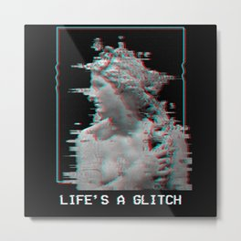 Life Is A Glitch Aesthetic Vaporwave Metal Print