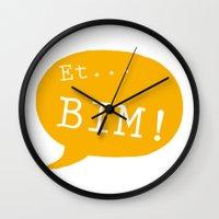 et Wall Clocks featuring Et bim! by Kanari Raspberry