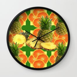 PINEAPPLES & ORANGE FRUIT SLICES  GREEN DESIGN Wall Clock