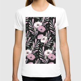 Anemones & Olives black T-shirt