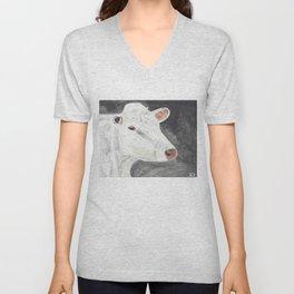 White Cow Unisex V-Neck