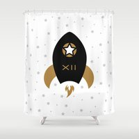 spaceship Shower Curtains featuring Spaceship #12 by Thomas Ramey