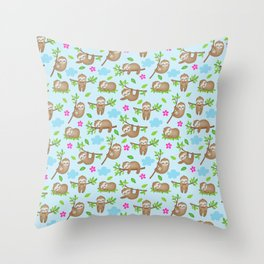 Sloth Neck Gator Cute Floral Sloth Throw Pillow