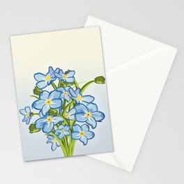 Bouquet of Blossoming Myosotis Flowers Stationery Cards