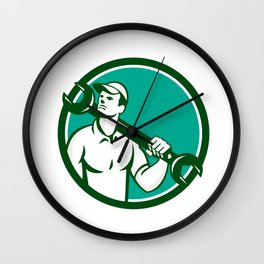 Mechanic Spanner Wrench Looking Up Retro Wall Clock