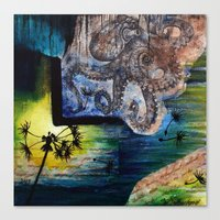 literary Canvas Prints featuring Literary Octopus by Sarah Sutherland