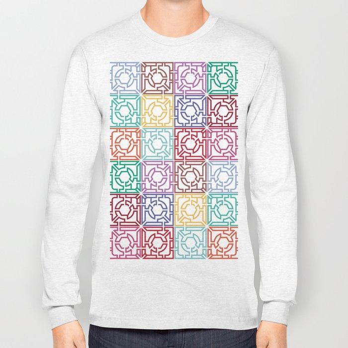 Maze Colorful Seamless Pattern Long Sleeve T-shirt