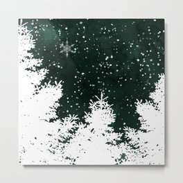 Pine snowflakes winter snow christmas green deep forest watercolor Metal Print