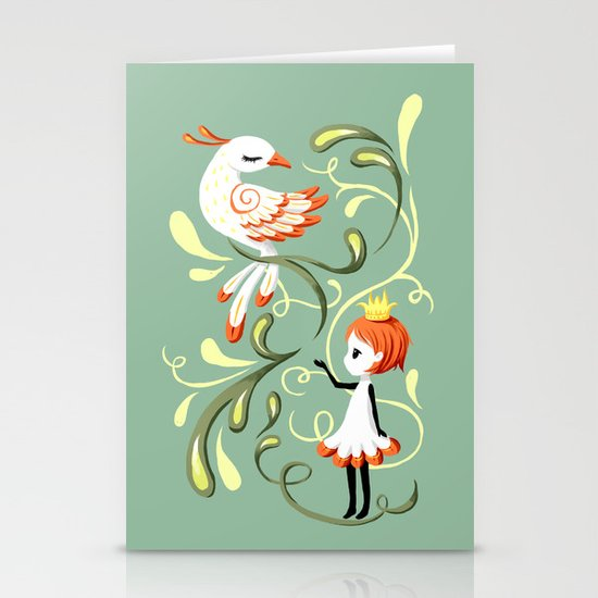 Princess and a Bird Stationery Cards