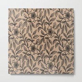 Vintage Lace Floral Hazelnut Metal Print