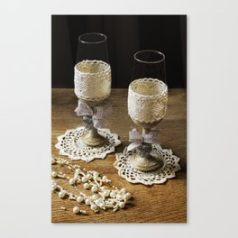 Rustic wedding flutes and pearls  Canvas Print