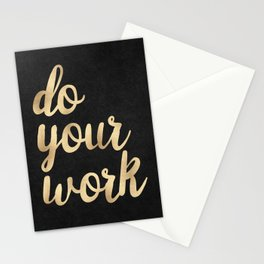 Do Your Work Gold on Black Fabric Stationery Cards