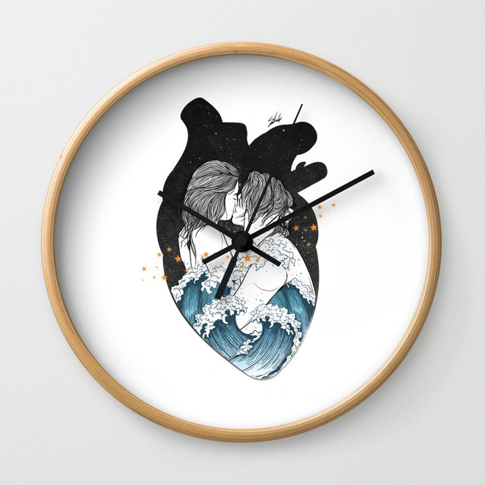 The ocean heart. Wall Clock